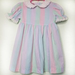 80s 90s Vintage Dress Girls 3t 4t Pink Blue Stripe